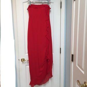 Lauren Ralph Lauren Strapless Ruffle Silk Gown